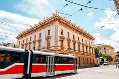 Brno Philharmonic hall and tram in Brno, Czech Republic