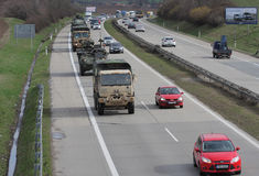 Brno,Czech Republic-March 30,2015:Dragoon Ride - US army convoy Stock Photo
