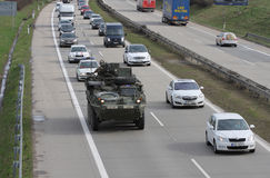Brno,Czech Republic-March 30,2015:Dragoon Ride - US army convoy. The U.S. military convoy, returning from the Baltic countries to a German base, entered the Stock Image