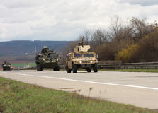 Brno,Czech Republic-March 30,2015:Dragoon Ride - US army convoy Royalty Free Stock Photography