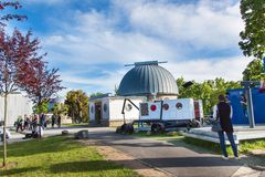 BRNO, CZECH REPUBLIC - MAY 11, 2017: The observatory was built in 1953 and was upgraded in 2011. It works as a lecture and educati. On center stock photo