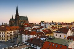 Brno, Czech Republic. Old town of Brno as seen from the town hall tower stock image