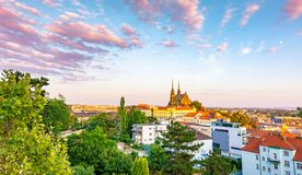 Brno, Czech republic: Sunset over the St Peter and Paul cathedral Petrov in local speak. Historical and ancient religion buildin royalty free stock image