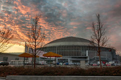 Brno Exhibition center in sunset advent time. Dramatic sky stock images