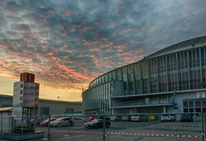 Brno Exhibition center in sunset advent time. Dramatic sky stock photo