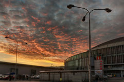 Brno Exhibition center in sunset advent time. Dramatic sky stock photography