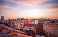 Brno on fire. Long exposure of sunset over Brno city Stock Photography