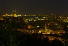 Brno nattsikt Fotografering för Bildbyråer