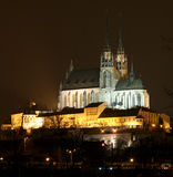 Brno in the night. Cathedral Petrov in Brno at night stock photos