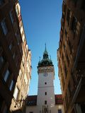 Brno Old City. Brno Church building pld city street view, sunny day with blue sky stock images