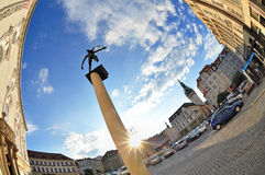 Brno czech town. Old town of Brno, Zelny Trh with Cupids statue on a column, Czech Republic Stock Image