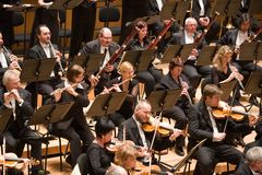 Brno Philharmonic Orchestra perform. Members of the Brno Philharmonic Orchestra perform on Royalty Free Stock Images