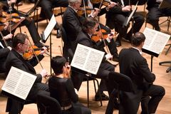 Brno Philharmonic Orchestra perform. Members of the Brno Philharmonic Orchestra perform on Stock Photos
