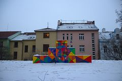 Brno Playground in Winter stock photography