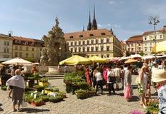 Brno, republika czech - Czerwiec 01, 2017: Kapuściany Targowy kwadrat w b Zdjęcie Stock