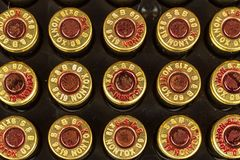 BRNO, republika czech -15 Lipiec, 2017: Amunicyjny kaliber 9x19mm Sellier & Bellot produkowaliśmy amunicje w republika czech grze Fotografia Stock