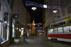 Brno 's nachts, Tsjechische Republiek royalty-vrije stock afbeelding
