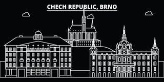 Brno silhouethorizon Tsjechische Republiek - Brno vectorstad, Tsjechische lineaire architectuur, gebouwen Brno reis royalty-vrije illustratie