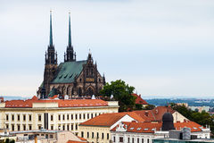 Brno skyline with Cathedral of St Peter and Paul Stock Image