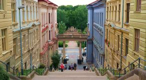 Brno street. A small historic colorful street in Brno stock image