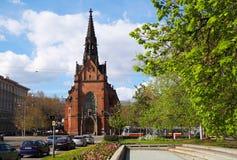 Brno Tjeckien, April 16th, 2017: Den evangelikala kyrkan, södra Moravia, Tjeckien Arkivfoton