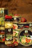 BRNO TJECKIEN - DECEMBER 16, 2017: Kaiser Franz Josef Exclusive Canned Tuna With chili Mat för gourmet Olik typnolla Royaltyfri Foto