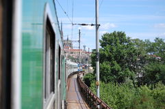Brno by train. Train traveling to the station brno main station Stock Image