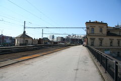 Brno train station_platform and tracks Royalty Free Stock Photo