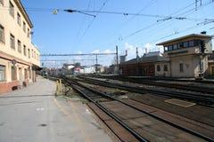 Brno train station_track system Royalty Free Stock Photography