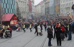 Brno, Tsjechisch 12,2014 republiek-december: Kerstmismarkt bij Vrijheid Stock Afbeelding