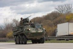 Brno, Tsjechisch 30,2015 republiek-Maart: Dragoonrit - het legerkonvooi van de V.S. Stock Afbeeldingen