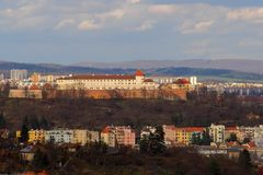 Brno, Tsjechische republiek, 20 Maart, 2017: Spilberkvesting die de dominante stad van Brno, Tsjechische republiek vormt Stock Foto