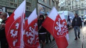 Brno, Tsjechische Republiek, 1 Mei, 2019: Maart van radicale extremisten, afschaffing van democratie, tegen de overheid van stock footage