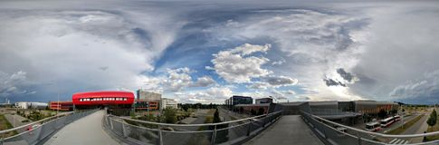 Brno Urban Skyline, cloudy weather, 360 picture. Wide 360 degrees shot of urban skyline in Brno Royalty Free Stock Photo
