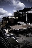bränt hus Arkivfoto