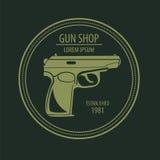 Broń palna loga szablon Pistolety, karabin odznaka Płaski projekt Obraz Stock