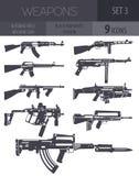 Broń palna set Karabin automatyczny, maszynowy pistolet Płaski projekt ilustracji