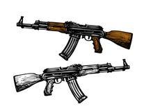 Broń, uzbrojenie symbol Automatyczna maszyna AK 47 Kałasznikowu karabin szturmowy, nakreślenie również zwrócić corel ilustracji w royalty ilustracja