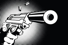 Broń w ręce w stylu wystrzał sztuki ilustracji