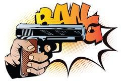Broń w ręce w stylu wystrzał sztuki royalty ilustracja