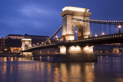 Bro över Danubet River Royaltyfri Fotografi