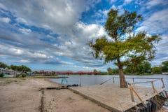Bro över den Gualeguaychu floden, Argentina Royaltyfri Foto