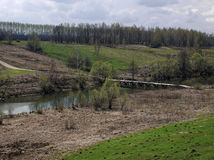 bro över den träfloden Royaltyfria Foton