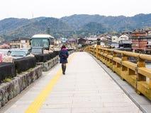 Bro över den Uji floden, Kyoto, Japan Fotografering för Bildbyråer