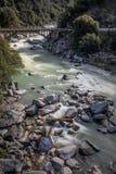 Bro över den Yuba floden i Nevada City California arkivfoto