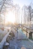 Bro över en sjö i en vinterskog Royaltyfri Fotografi