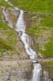 Bro över fågelkvinnanedgångarna i glaciärnationalpark Arkivfoto