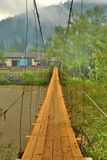bro över floden i det Carpathian Arkivfoto