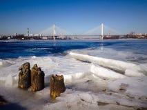 Bro över floden Niva i St Petersburg Arkivbild