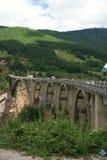 Bro över floden Tara i Montenegro Arkivfoton